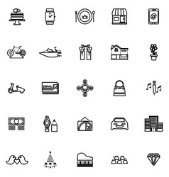 Birthday gift line icons on white background vector