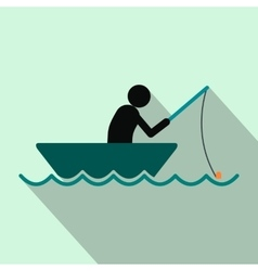Fisherman in a boat flat icon vector image