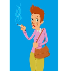 Heavy smoker lady vector