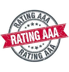 Rating aaa red round grunge vintage ribbon stamp vector