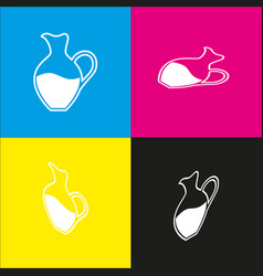 Amphora sign white icon with isometric vector