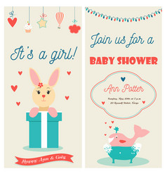 Baby shower double invitation card with cute bunny vector