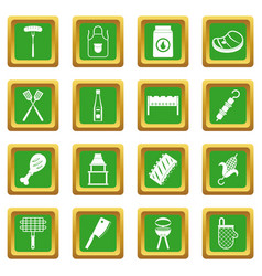 Bbq food icons set green vector