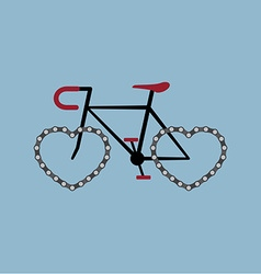 Bicycle with heart shape chian wheel vector