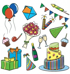 birthday and party doodle vector image
