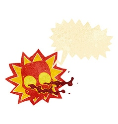 Cartoon halloween skull symbol with speech bubble vector