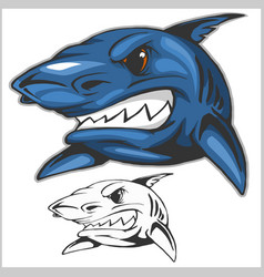 cartoon shark mascot vector image vector image