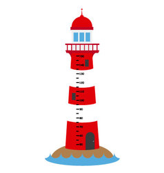 Children wall meter lighthouse vector