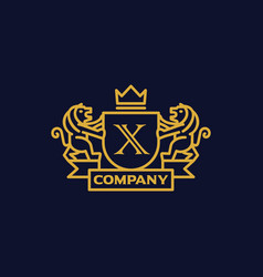 Coat of arms letter x company vector