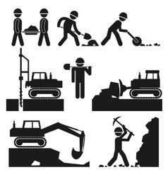Collection of Black Construction Earthworks Icons vector image
