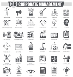 Corporate managment black icon set Dark vector image