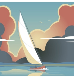 Evening sail vector image