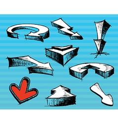 Few pen drown arrows vector image