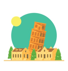 Flat design of the leaning tower of pisa italy wit vector
