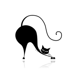 Funny big cat silhouette for your design vector image vector image