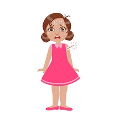 girl with high fever with thermometersick kid vector image