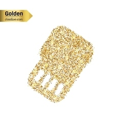 Gold glitter icon of sim card isolated on vector