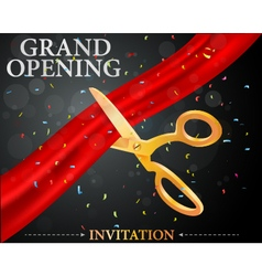 Grand opening card with red ribbon and gold scisso vector