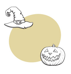 Hand drawn halloween symbols - pumpking lantern vector