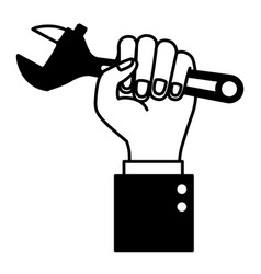 hand holding adjustable wrench flat icon black vector image