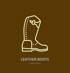 Leather boots line logo flat sign for polo vector