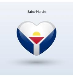Love saint-martin symbol heart flag icon vector