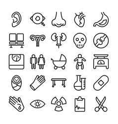 Medical health and hospital line icons 3 vector