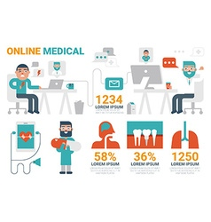 Online medical infographic elements vector