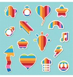 rainbow stickers vector image