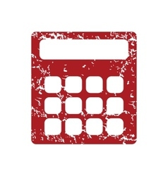 Red grunge calculator logo vector image