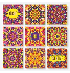 Set of cards with kaleidoscope pattern vector