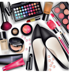 Sets of cosmetics on white background vector