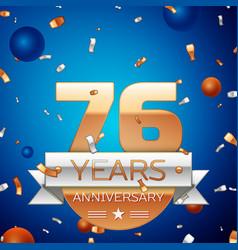 Seventy six years anniversary celebration design vector