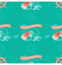 Shrimp lemon words Fresh Seafood vector image