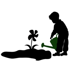 silhouette of a child watering flowers vector image