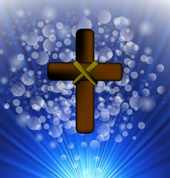 Simple Brown Wooden Cross vector image vector image
