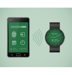 Smartwatch and smartphone communication vector image