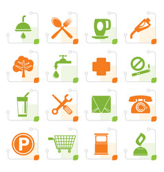 Stylized petrol station and travel icons vector