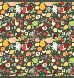 The seamless fruit pattern vector
