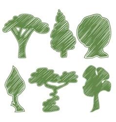 Trees oak pine bush willow bansal acacia vector
