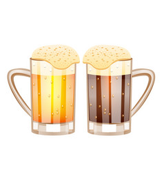 two glasses with beer vector image vector image