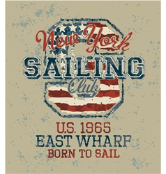 Vintage sailing club vector image