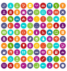 100 activity icons set color vector