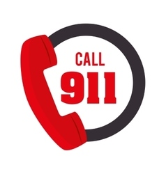 call 911 fire equipement service emergency vector image