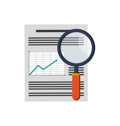 Graph chart and magnifying glass icon vector