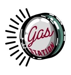 Color vintage gas station emblem vector