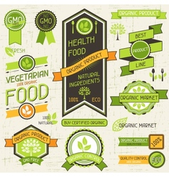 Organic food banners set of labels and stickers vector