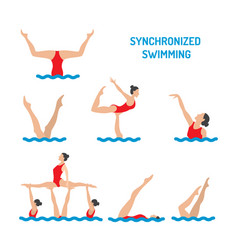 synchronized swimming banner vector image