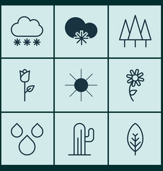 set of 9 world icons includes forest cactus vector image