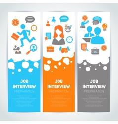 Job interview flat banner set vector